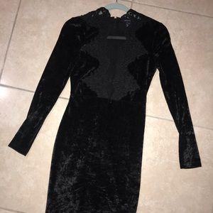 French connection black velvet dress